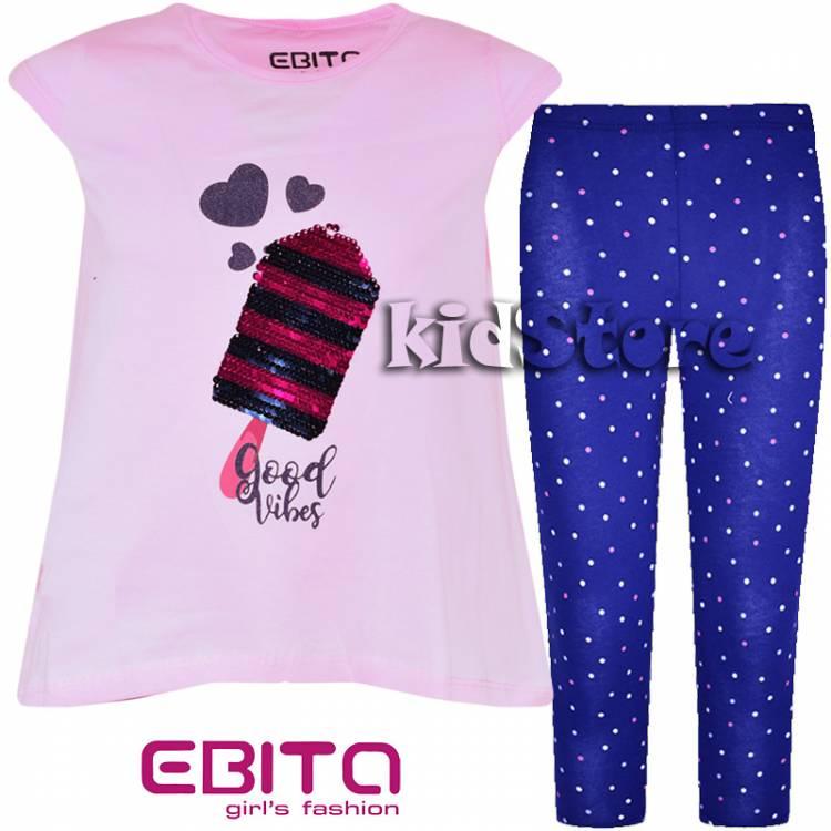 f350588b7f3f EBITA Σετ μπλούζα με κολάν για κορίτσι με πούλιες Παγωτό της Εβίτα