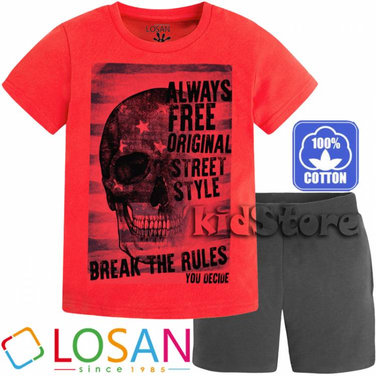 6b304f685f1d LOSAN Σετ μπλούζα με βερμούδα για αγόρι Free της Λοσάν