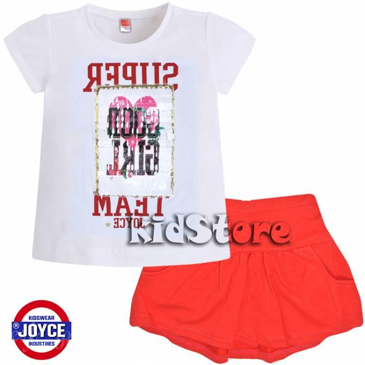 aec46a40fdf JOYCE Σετ μπλούζα φούστα για κορίτσι με τύπωμα και πούλιες της Τζόις
