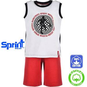 dbff9718eac SPRINT Σετ μπλούζα αμάνικη με βερμούδα για αγόρι Basket της Σπριντ