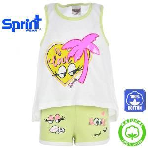ec8aa0e6e12 SPRINT Σετ μπλούζα με σορτς για κορίτσι Eyes της Σπριντ