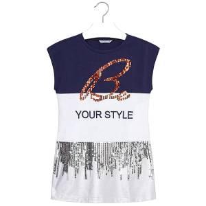 MAYORAL Φόρεμα για κορίτσι συνδυασμένο με πούλιες της Μαγιοράλ f225e6c9f9d