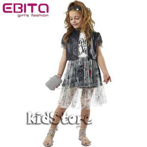 a3d3ae803d5 EBITA Σετ μπλούζα με γιλέκο από δερματίνη με φούστα για κορίτσι της Εβίτα