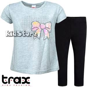 27eebfb9d460 TRAX Σετ μπλούζα με κολάν για κορίτσι με πούλιες Φιόγκος της Τραξ