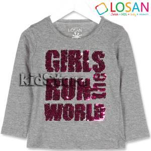 e898e1a31abe LOSAN Μπλούζα για κορίτσι με πούλιες που αλλάζουν όψη της Λοσάν