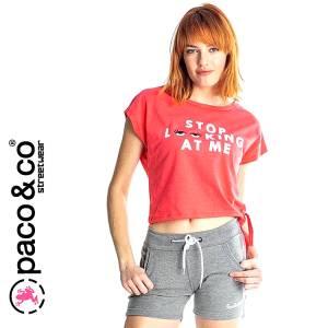 a5e86aec79b PACO Μπλούζα κοντομάνικη γυναικεία Don't look της Πάκο