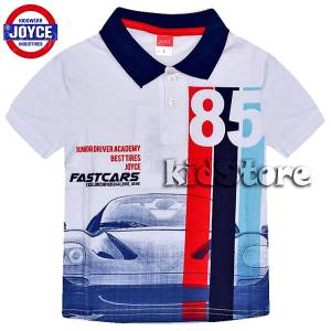 JOYCE Μπλούζα για αγόρι πόλο με τύπωμα Fast Cars της Τζόις 889f51e2e5d